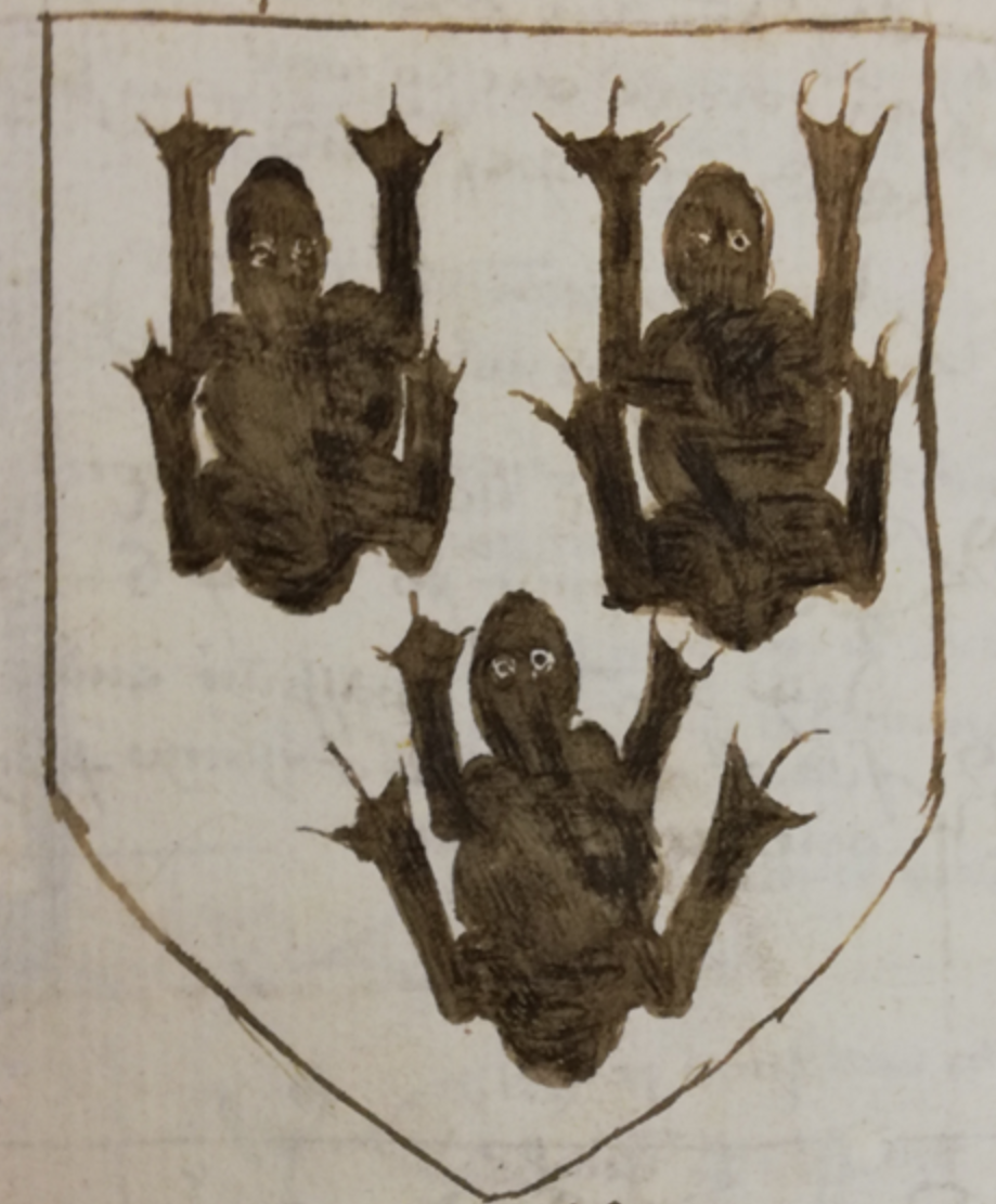 3 frogs on a shield